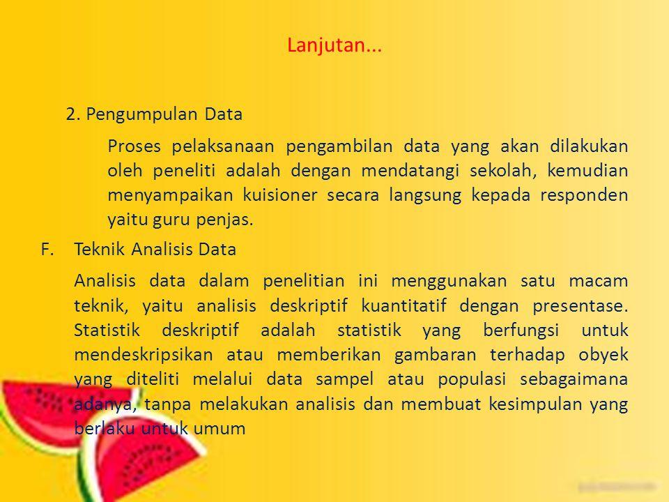 Lanjutan... 2. Pengumpulan Data Proses pelaksanaan pengambilan data yang akan dilakukan oleh peneliti adalah dengan mendatangi sekolah, kemudian menya