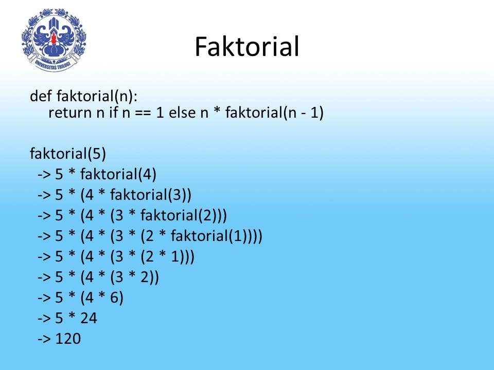 Faktorial def faktorial(n): return n if n == 1 else n * faktorial(n - 1) faktorial(5) -> 5 * faktorial(4) -> 5 * (4 * faktorial(3)) -> 5 * (4 * (3 * f