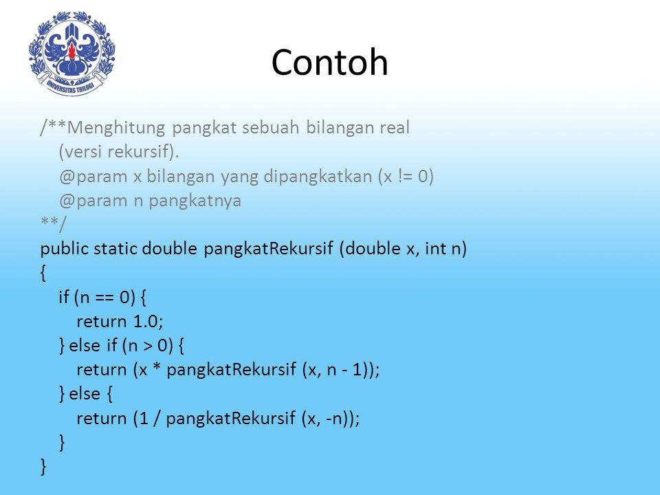 Contoh /**Menghitung pangkat sebuah bilangan real (versi rekursif). @param x bilangan yang dipangkatkan (x != 0) @param n pangkatnya **/ public stati