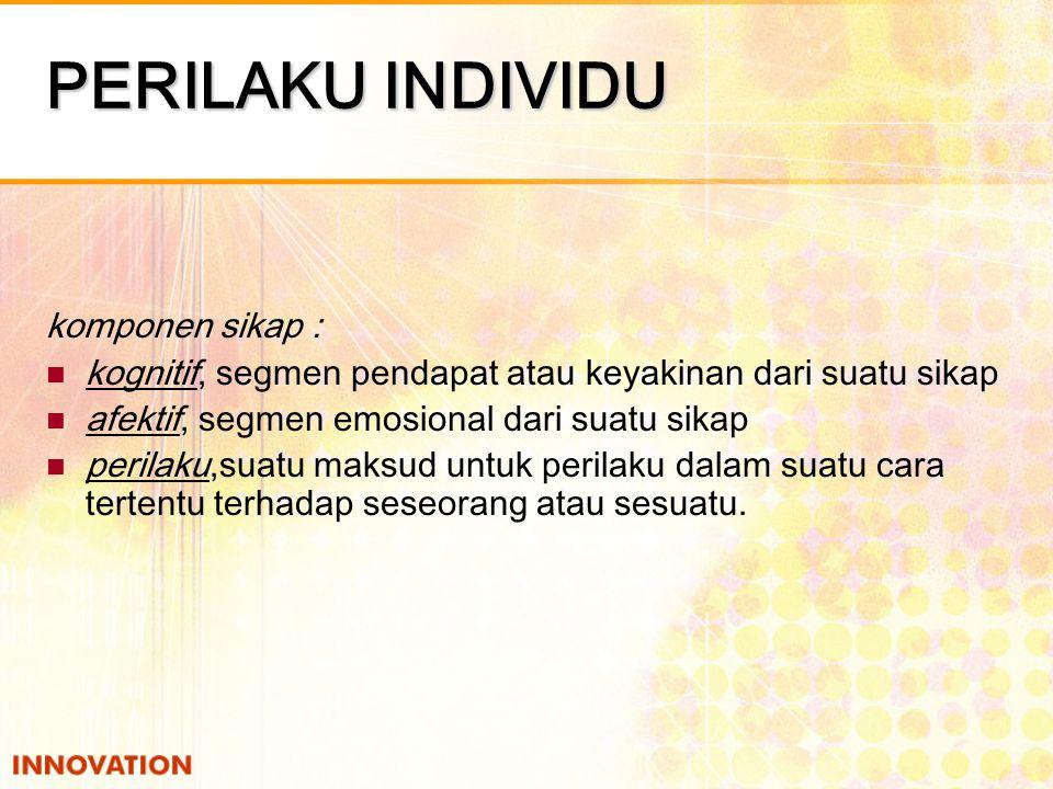 PERILAKU INDIVIDU SIKAP adalah pernyataan atau pertimbangan evaluatif (menguntungkan atau tidak menguntungkan) mengenai objek, orang dan peristiwa.
