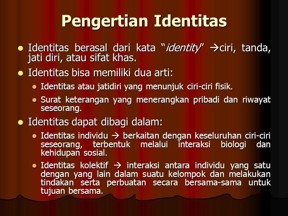 Identitas Identitas atau jatidiri muncul dan ada dalam interaksi.