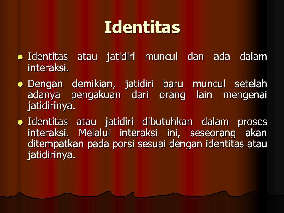Identitas Identitas atau jatidiri muncul dan ada dalam interaksi. Identitas atau jatidiri muncul dan ada dalam interaksi. Dengan demikian, jatidiri ba
