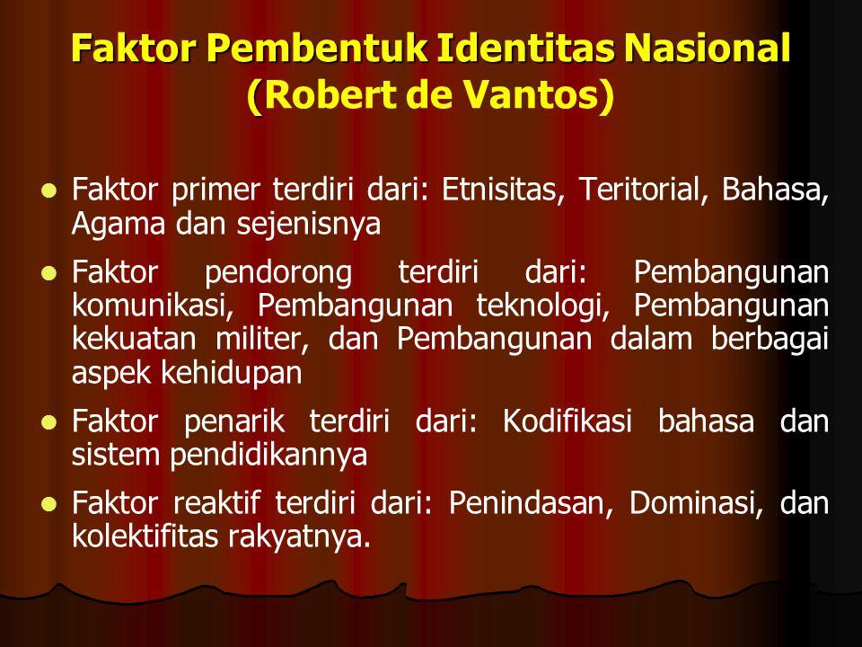 Faktor Pendukung Kelahiran Identitas Nasional FAKTOR SUBYEKTIF: -Historis -Sosial -Politik -Kebudayaan IDENTITAS NASIONAL FAKTOR OBYEKTIF: - Geografis -Ekologis -Demografis