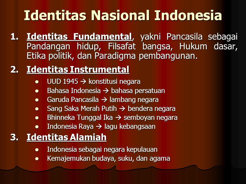 Identitas Nasional Indonesia 1.Identitas Fundamental, yakni Pancasila sebagai Pandangan hidup, Filsafat bangsa, Hukum dasar, Etika politik, dan Paradi