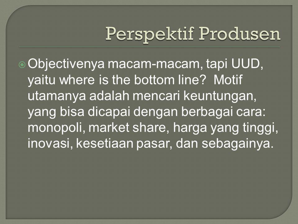  Perspektif Produsen  Perspektif Konsumen