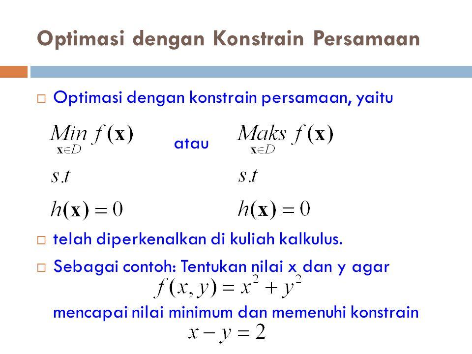 Metode Pengali Lagrange  Di kuliah kalkulus, masalah optimasi dengan konstrain persamaan, misalnya  dapat diselesaikan dengan metode pengali Lagrange, yaitu dengan mencari titik kritis pada persinggungan kurva ketinggian f(x) = k dengan kurva konstraint h(x)=0.