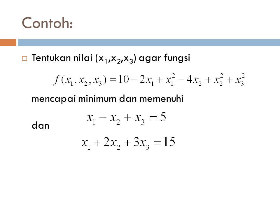 Contoh:  Tentukan nilai (x 1,x 2,x 3 ) agar fungsi mencapai minimum dan memenuhi dan