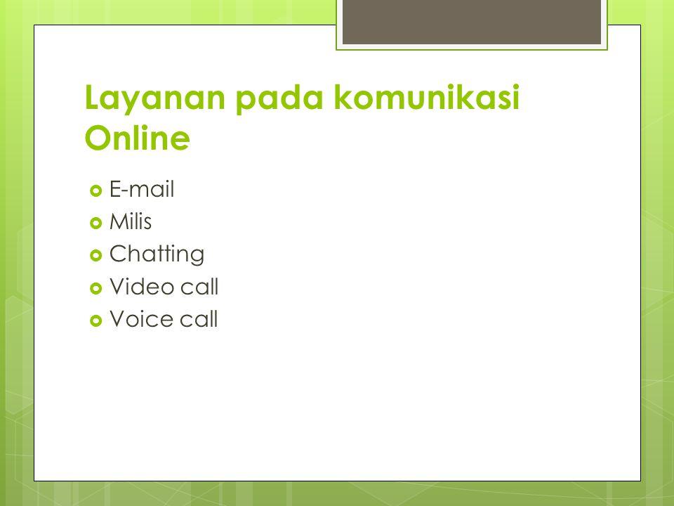 Layanan pada komunikasi Online  E-mail  Milis  Chatting  Video call  Voice call