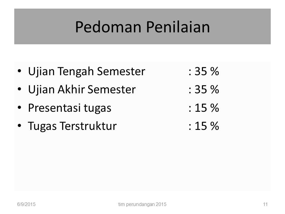 Pedoman Penilaian Ujian Tengah Semester : 35 % Ujian Akhir Semester: 35 % Presentasi tugas: 15 % Tugas Terstruktur: 15 % 6/9/201511tim perundangan 201