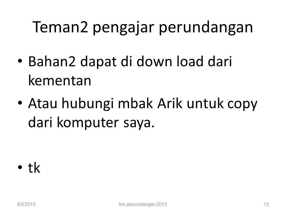 Teman2 pengajar perundangan Bahan2 dapat di down load dari kementan Atau hubungi mbak Arik untuk copy dari komputer saya. tk 6/9/2015tim perundangan 2