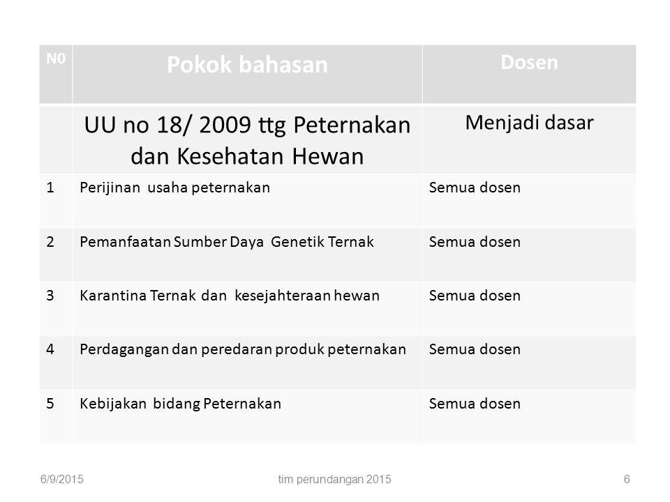 N0 Pokok bahasan Dosen UU no 18/ 2009 ttg Peternakan dan Kesehatan Hewan Menjadi dasar 1Perijinan usaha peternakanSemua dosen 2Pemanfaatan Sumber Daya