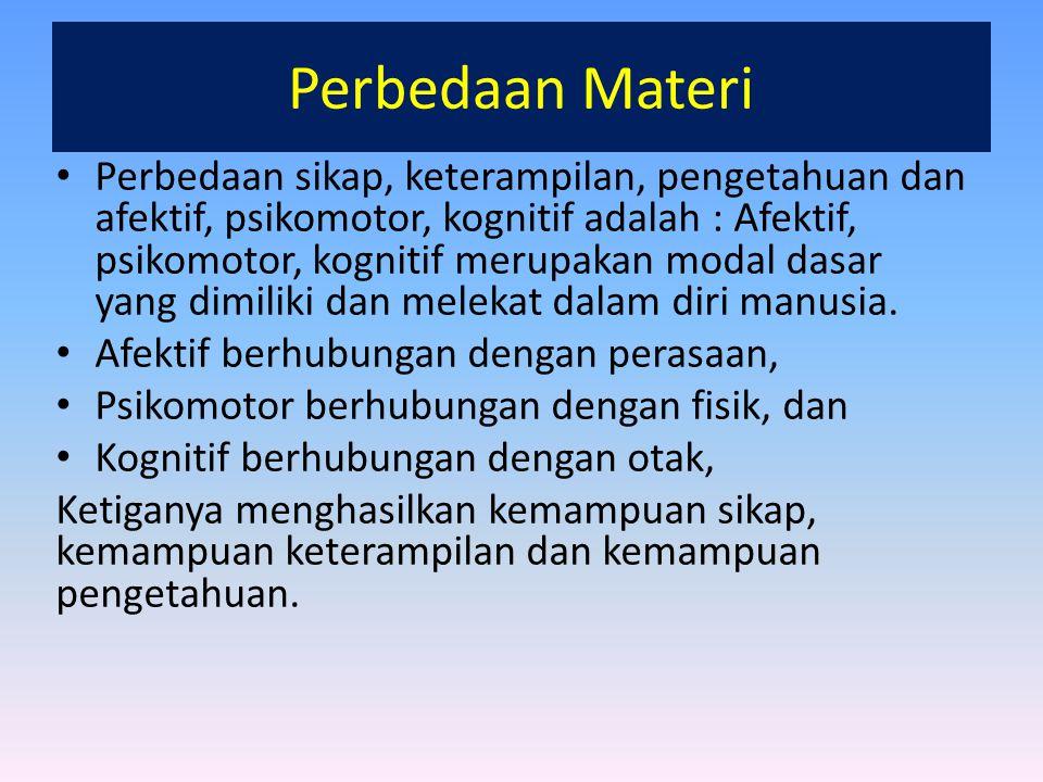 Perbedaan Materi Perbedaan sikap, keterampilan, pengetahuan dan afektif, psikomotor, kognitif adalah : Afektif, psikomotor, kognitif merupakan modal d