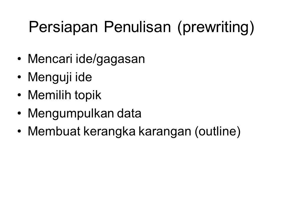 Persiapan Penulisan (prewriting) Mencari ide/gagasan Menguji ide Memilih topik Mengumpulkan data Membuat kerangka karangan (outline)