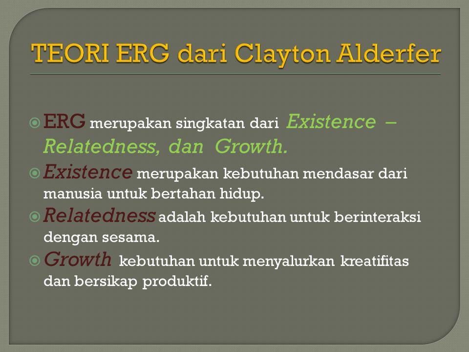  ERG merupakan singkatan dari Existence – Relatedness, dan Growth.  Existence merupakan kebutuhan mendasar dari manusia untuk bertahan hidup.  Rela