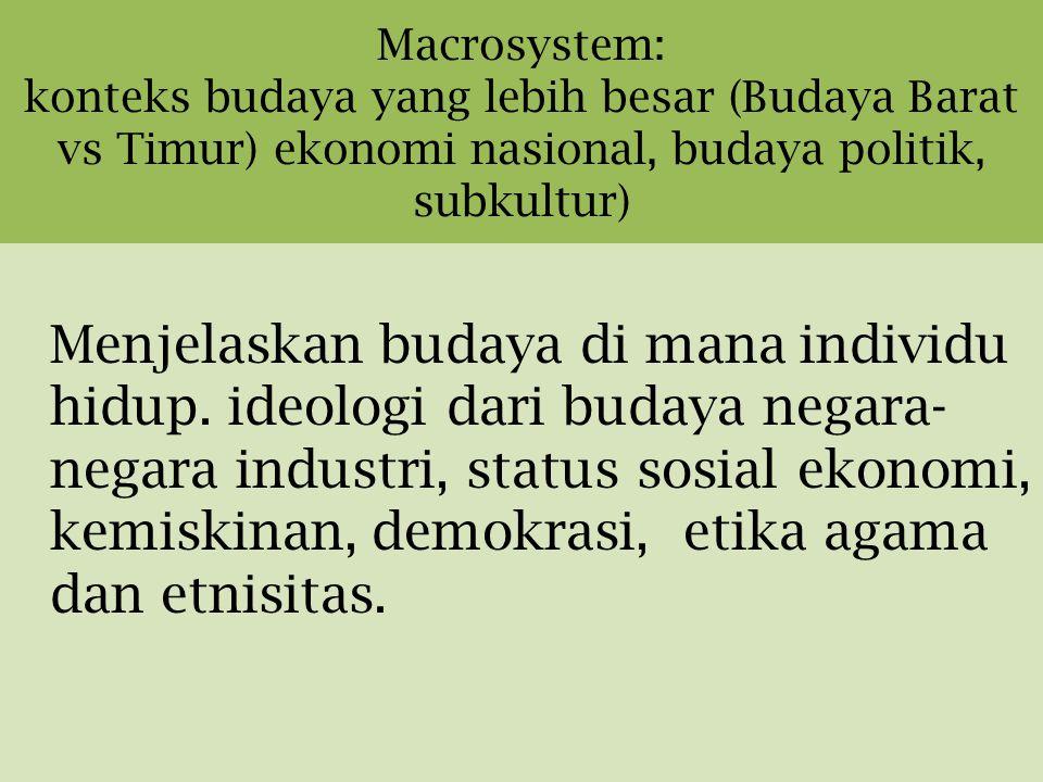 Macrosystem: konteks budaya yang lebih besar (Budaya Barat vs Timur) ekonomi nasional, budaya politik, subkultur) Menjelaskan budaya di mana individu