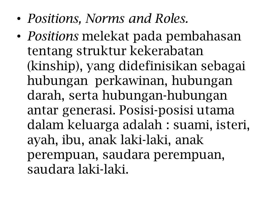 Positions, Norms and Roles. Positions melekat pada pembahasan tentang struktur kekerabatan (kinship), yang didefinisikan sebagai hubungan perkawinan,