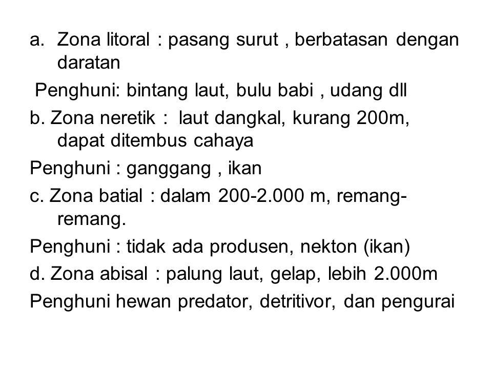 a.Zona litoral : pasang surut, berbatasan dengan daratan Penghuni: bintang laut, bulu babi, udang dll b. Zona neretik : laut dangkal, kurang 200m, dap