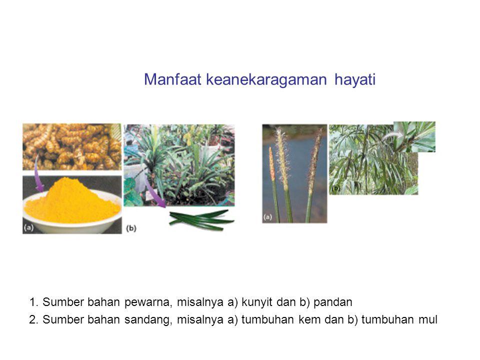 Manfaat keanekaragaman hayati 1. Sumber bahan pewarna, misalnya a) kunyit dan b) pandan 2. Sumber bahan sandang, misalnya a) tumbuhan kem dan b) tumbu