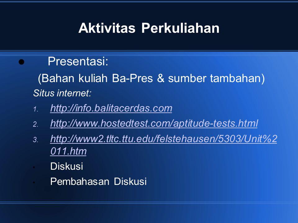 Aktivitas Perkuliahan Presentasi: (Bahan kuliah Ba-Pres & sumber tambahan) Situs internet: 1. http://info.balitacerdas.com http://info.balitacerdas.co