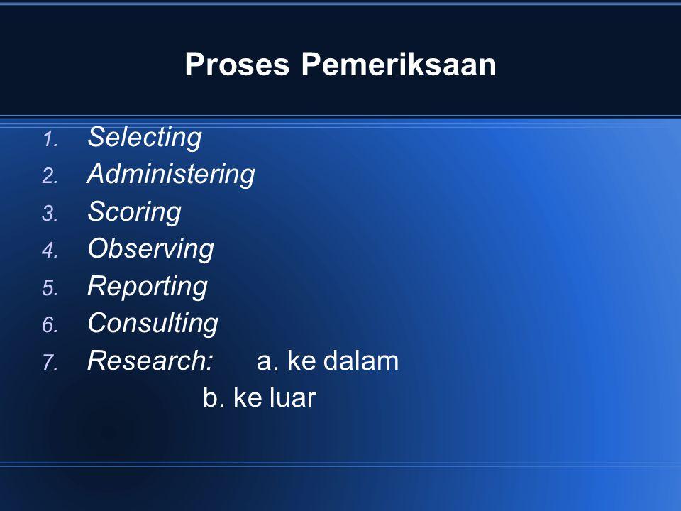Proses Pemeriksaan 1. Selecting 2. Administering 3. Scoring 4. Observing 5. Reporting 6. Consulting 7. Research: a. ke dalam b. ke luar