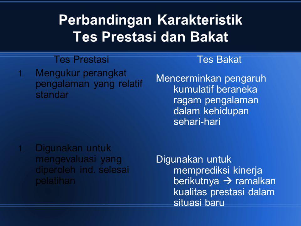 Perbandingan Karakteristik Tes Prestasi dan Bakat Tes Prestasi 1. Mengukur perangkat pengalaman yang relatif standar 1. Digunakan untuk mengevaluasi y