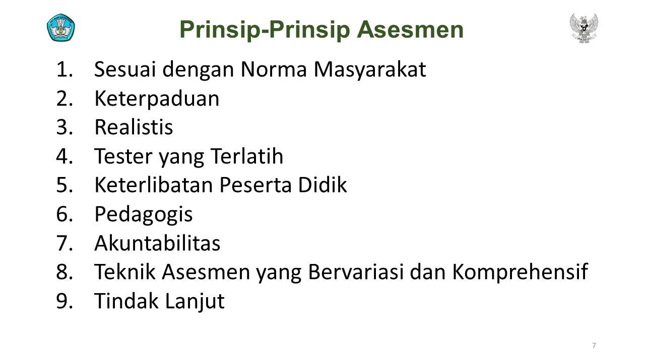 Prinsip-Prinsip Asesmen 1.Sesuai dengan Norma Masyarakat 2.Keterpaduan 3.Realistis 4.Tester yang Terlatih 5.Keterlibatan Peserta Didik 6.Pedagogis 7.A