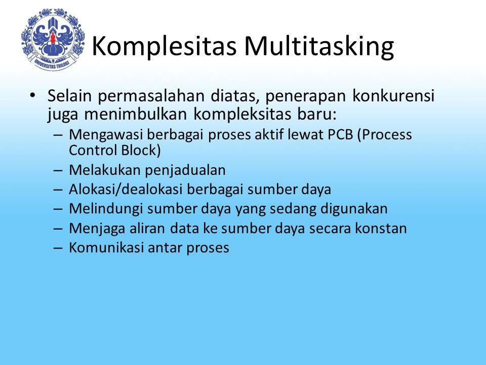 Komplesitas Multitasking Selain permasalahan diatas, penerapan konkurensi juga menimbulkan kompleksitas baru: – Mengawasi berbagai proses aktif lewat