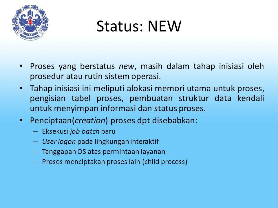 Status: NEW Proses yang berstatus new, masih dalam tahap inisiasi oleh prosedur atau rutin sistem operasi. Tahap inisiasi ini meliputi alokasi memori