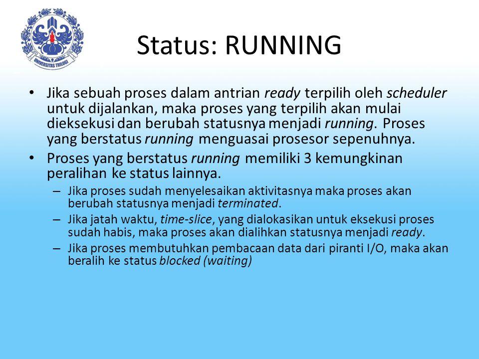 Status: RUNNING Jika sebuah proses dalam antrian ready terpilih oleh scheduler untuk dijalankan, maka proses yang terpilih akan mulai dieksekusi dan b