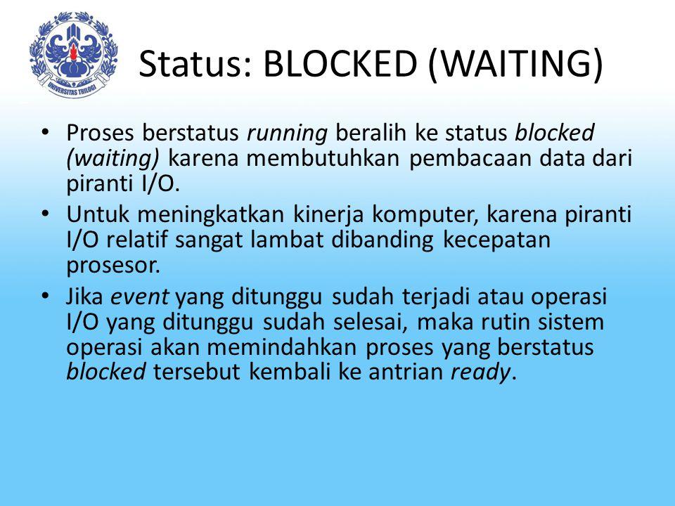 Status: BLOCKED (WAITING) Proses berstatus running beralih ke status blocked (waiting) karena membutuhkan pembacaan data dari piranti I/O. Untuk menin