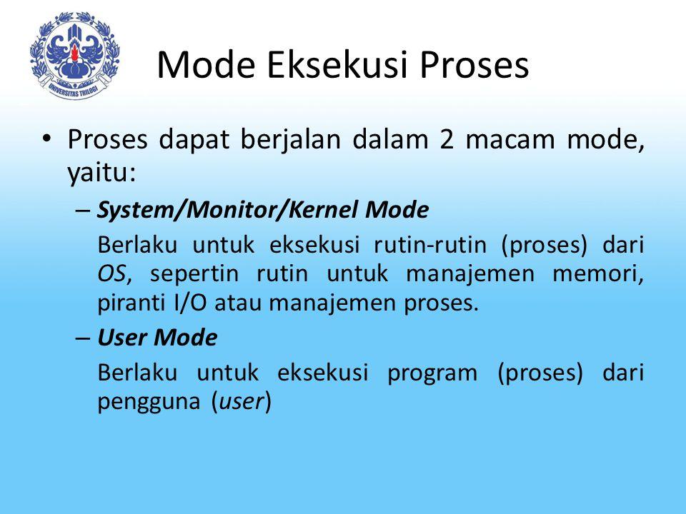 Mode Eksekusi Proses Proses dapat berjalan dalam 2 macam mode, yaitu: – System/Monitor/Kernel Mode Berlaku untuk eksekusi rutin-rutin (proses) dari OS