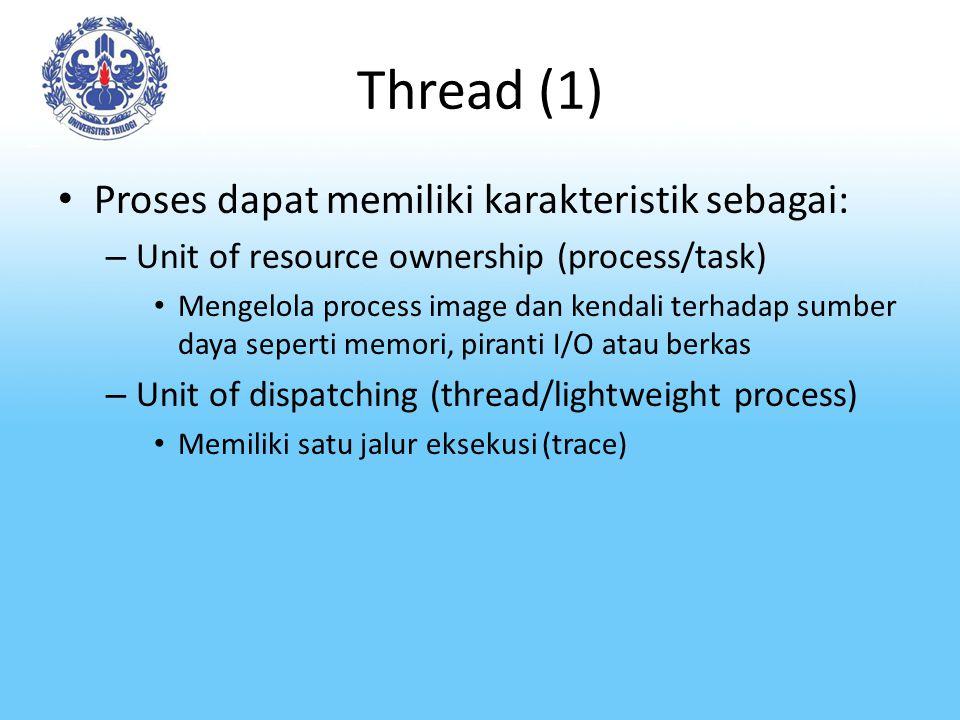 Thread (1) Proses dapat memiliki karakteristik sebagai: – Unit of resource ownership (process/task) Mengelola process image dan kendali terhadap sumbe