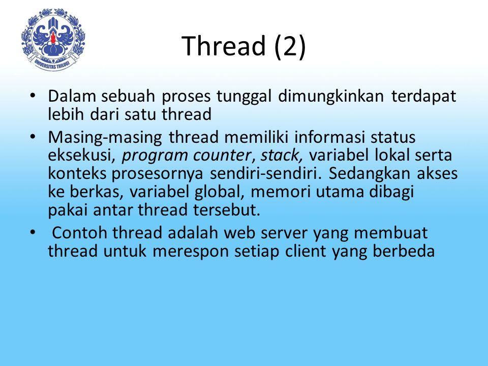 Thread (2) Dalam sebuah proses tunggal dimungkinkan terdapat lebih dari satu thread Masing-masing thread memiliki informasi status eksekusi, program c