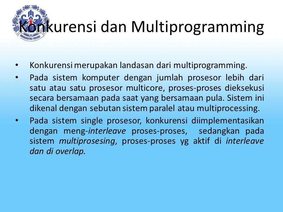 Konkurensi dan Multiprogramming Konkurensi merupakan landasan dari multiprogramming. Pada sistem komputer dengan jumlah prosesor lebih dari satu atau