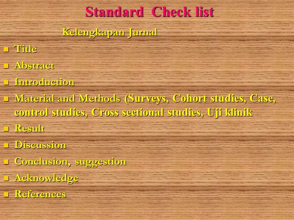 Standard Check list 2 1.