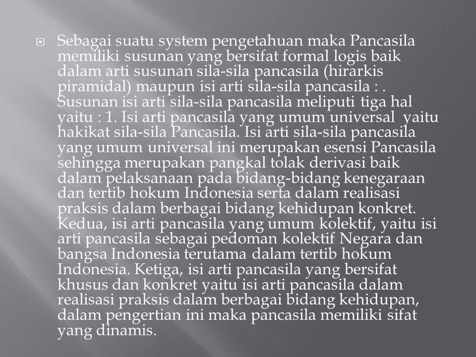  Sebagai suatu system pengetahuan maka Pancasila memiliki susunan yang bersifat formal logis baik dalam arti susunan sila-sila pancasila (hirarkis piramidal) maupun isi arti sila-sila pancasila :.