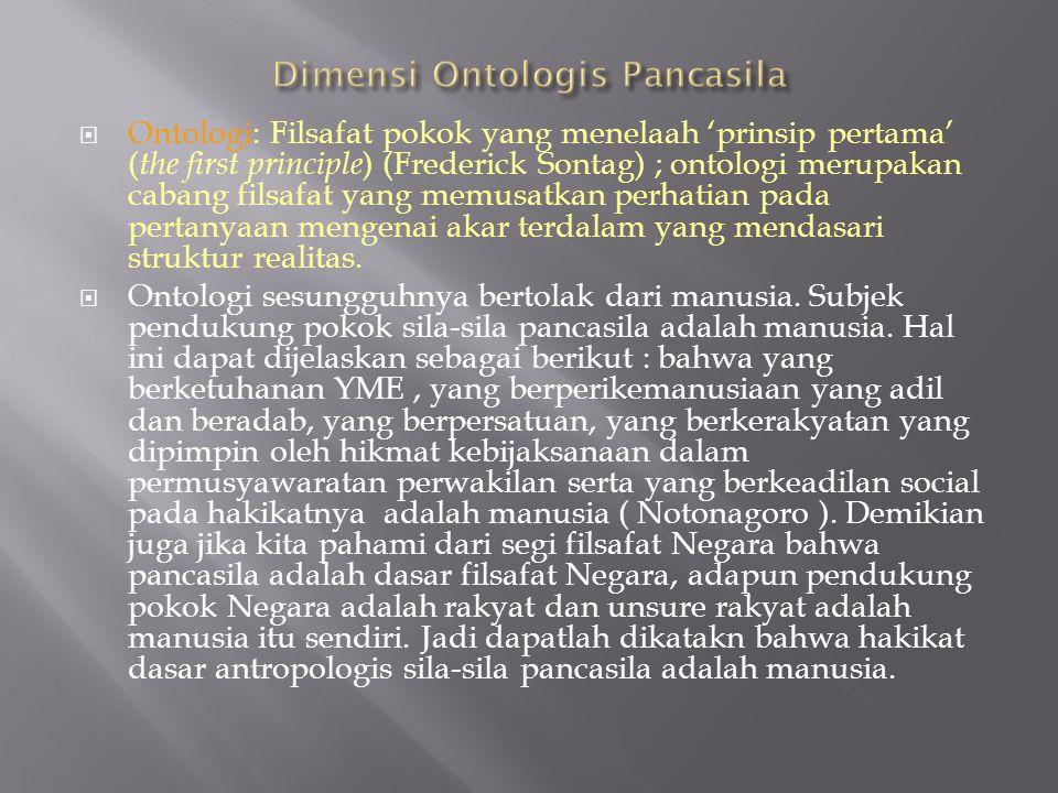 Ontologi: Filsafat pokok yang menelaah 'prinsip pertama' ( the first principle ) (Frederick Sontag) ; ontologi merupakan cabang filsafat yang memusa