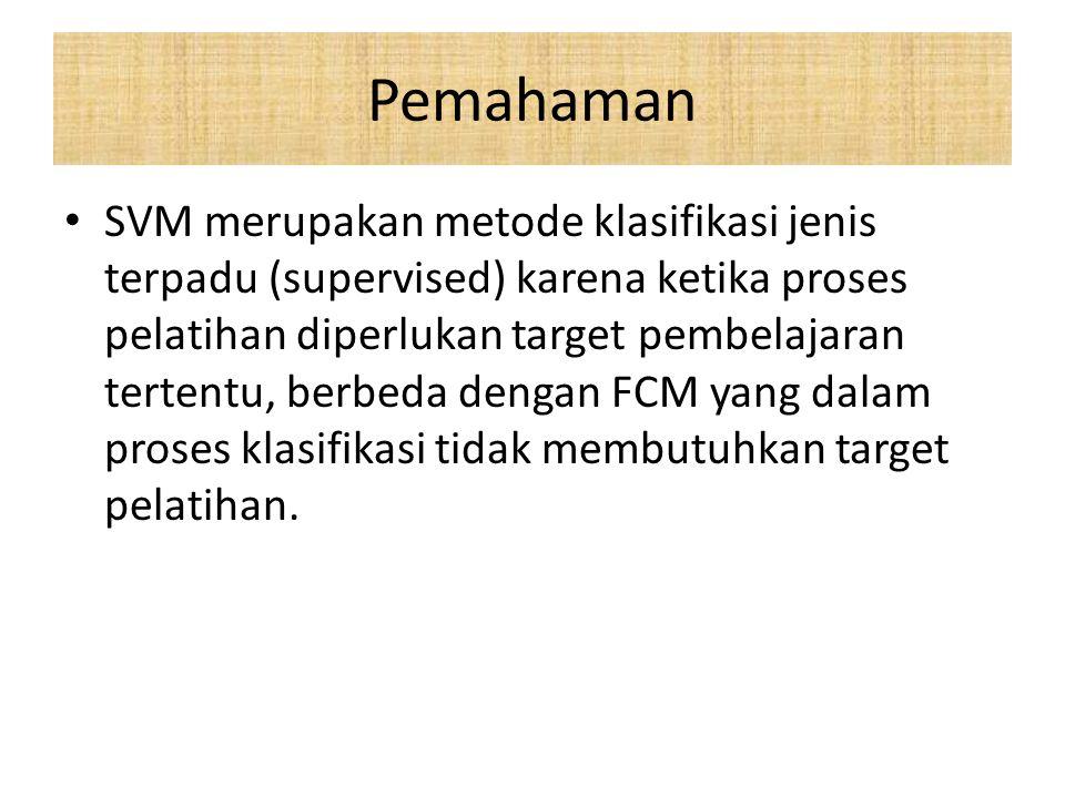 Pemahaman SVM merupakan metode klasifikasi jenis terpadu (supervised) karena ketika proses pelatihan diperlukan target pembelajaran tertentu, berbeda dengan FCM yang dalam proses klasifikasi tidak membutuhkan target pelatihan.