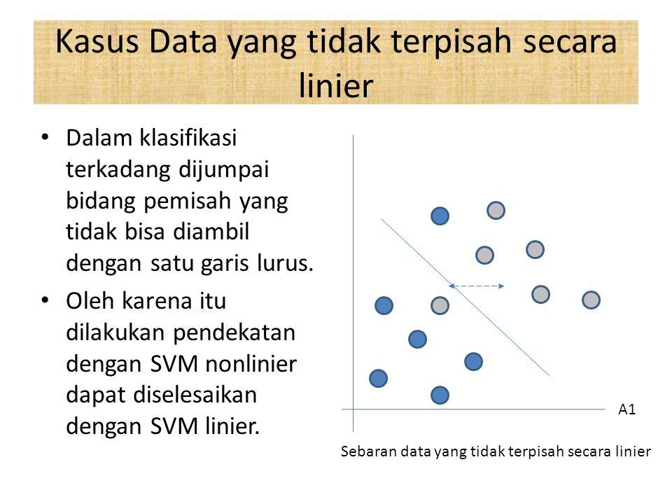 Kasus Data yang tidak terpisah secara linier Dalam klasifikasi terkadang dijumpai bidang pemisah yang tidak bisa diambil dengan satu garis lurus.