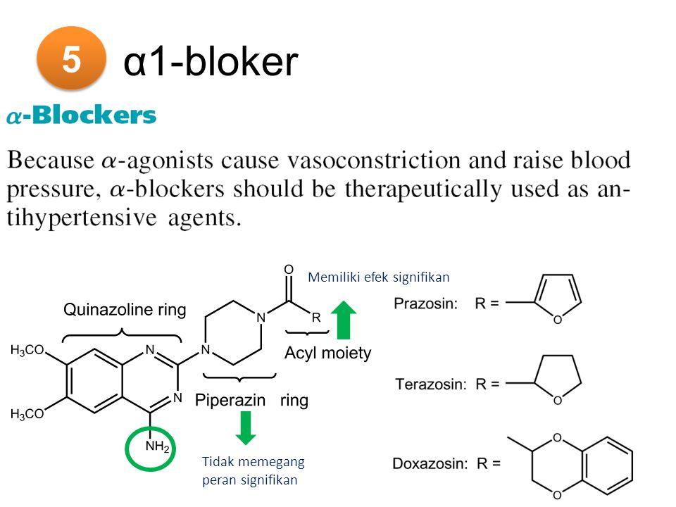 5 5 α1-bloker Tidak memegang peran signifikan Memiliki efek signifikan