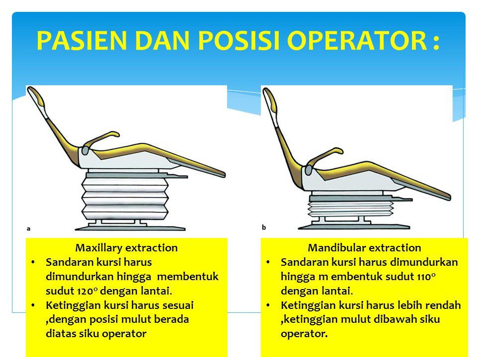 PASIEN DAN POSISI OPERATOR : Mandibular extraction Sandaran kursi harus dimundurkan hingga m embentuk sudut 110 o dengan lantai. Ketinggian kursi haru