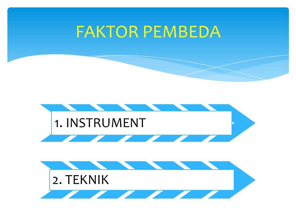 1. INSTRUMENT 2. TEKNIK FAKTOR PEMBEDA
