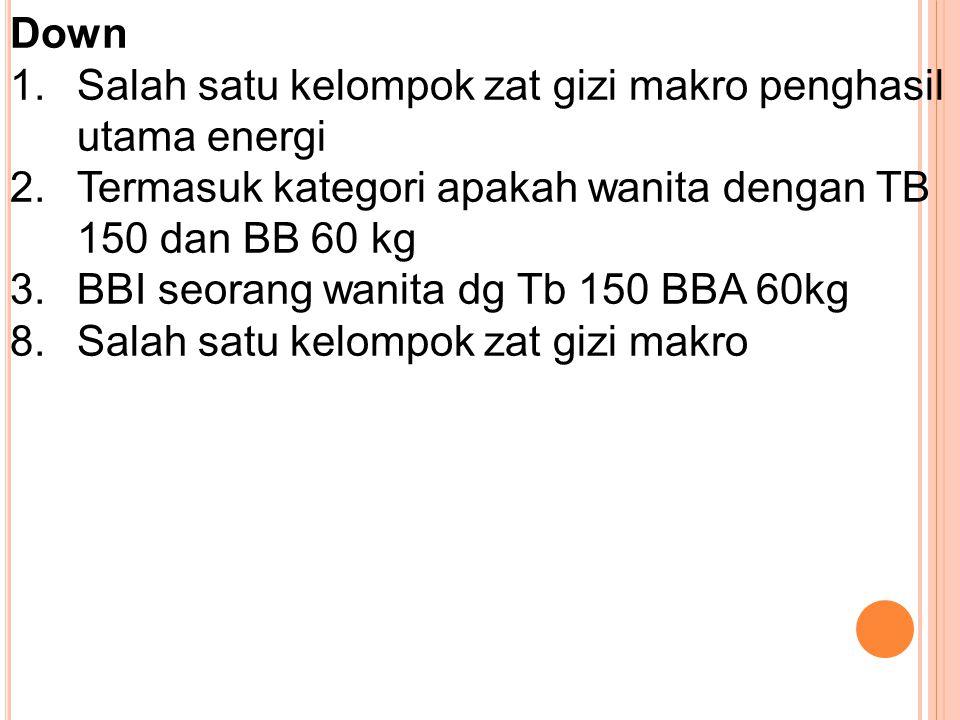 Down 1.Salah satu kelompok zat gizi makro penghasil utama energi 2.Termasuk kategori apakah wanita dengan TB 150 dan BB 60 kg 3.BBI seorang wanita dg Tb 150 BBA 60kg 8.Salah satu kelompok zat gizi makro
