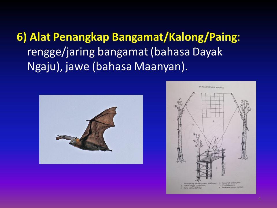 6) Alat Penangkap Bangamat/Kalong/Paing: rengge/jaring bangamat (bahasa Dayak Ngaju), jawe (bahasa Maanyan). 4