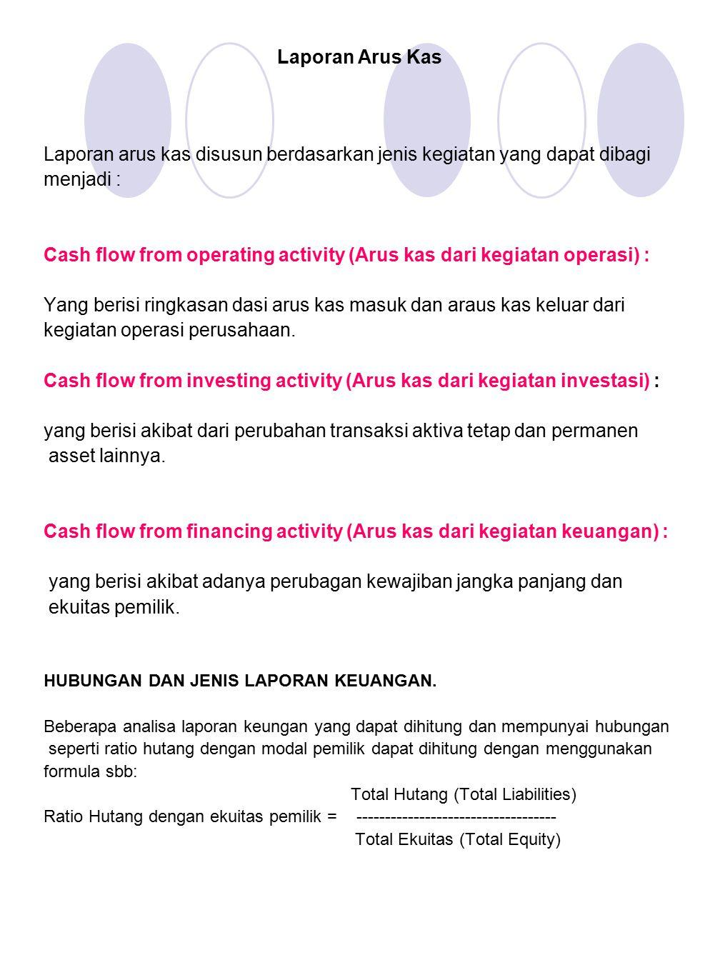 Laporan Arus Kas Laporan arus kas disusun berdasarkan jenis kegiatan yang dapat dibagi menjadi : Cash flow from operating activity (Arus kas dari kegi