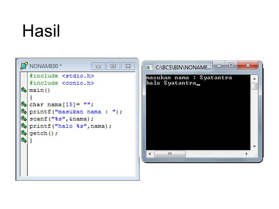 Tugas Buatlah coding program untuk memasukan nama, npm, kelas masing-masing.