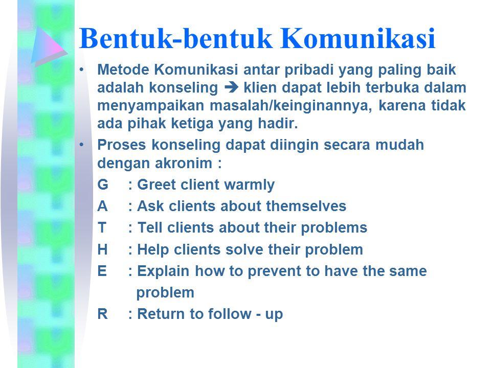 Metode Komunikasi antar pribadi yang paling baik adalah konseling  klien dapat lebih terbuka dalam menyampaikan masalah/keinginannya, karena tidak ad