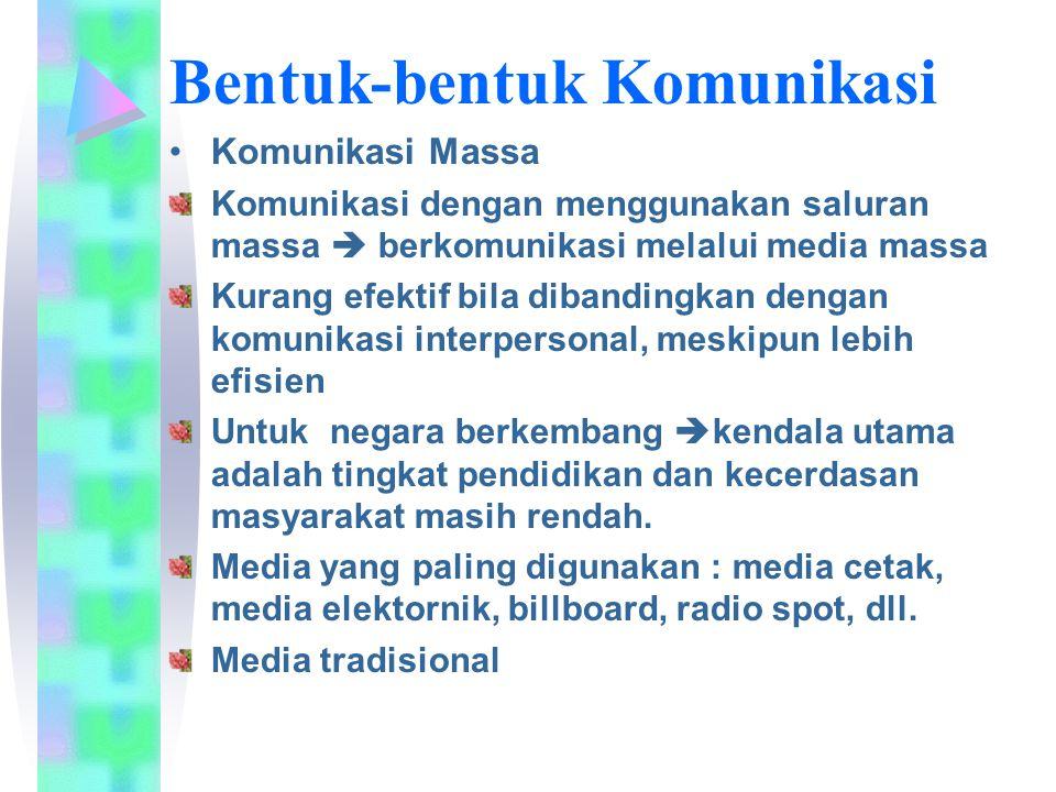 Komunikasi Massa Komunikasi dengan menggunakan saluran massa  berkomunikasi melalui media massa Kurang efektif bila dibandingkan dengan komunikasi in