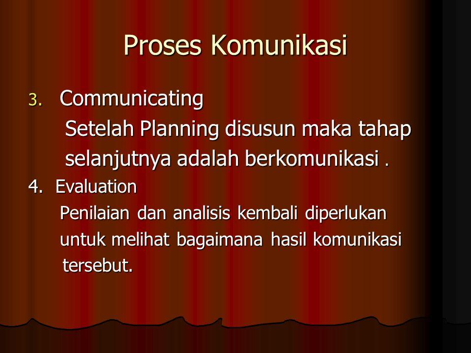 Proses Komunikasi 3. Communicating Setelah Planning disusun maka tahap Setelah Planning disusun maka tahap selanjutnya adalah berkomunikasi. selanjutn