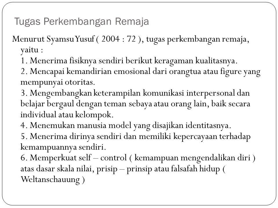 Tugas Perkembangan Remaja Menurut Syamsu Yusuf ( 2004 : 72 ), tugas perkembangan remaja, yaitu : 1. Menerima fisiknya sendiri berikut keragaman kualit
